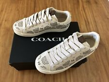 NIB Coach Women's C101 Leather Lace Up Fashion Sneakers Chalk Size 9 MSRP $195
