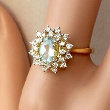 GENUINE DIAMOND AQUAMARINE DRESS RING DOUBLE HALO CLUSTER 18CT GOLD VAL $4,980
