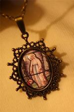 "Lovely Picot Starburst ""Stained Glass"" Our Lady Lourdes Cameo Pendant Necklace"
