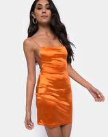 MOTEL ROCKS Kozue Mini Dress in Satin Salt Caramel Extra Small XS   (mr87)