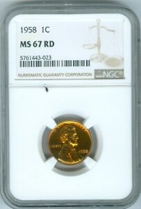 1958 WHEAT PENNY NGC MS-67 RED BEAUTIFUL RARE QUALITY✔️