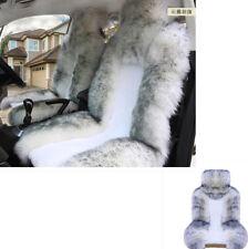 2xWhite & Grey Auto Car Seat Cover Protector Long Wool Sheepskin Fur Soft Fluffy