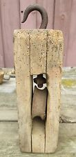 Large Heavy 10 lbs block rectangle wood pulley hook Farm Barn Primitive