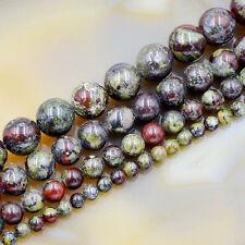 Natural African Dragon  Bloodstone Gemstone Round Spacer Beads 16'' 4mm-12mm