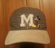 Boys Mickey Mouse Plaid Suede Hat Cap Blue Tan Walt Disney World Ball Baseball
