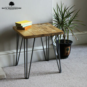 Side / Bedside Table & Hairpin Legs, Reclaimed Solid Wood - Handmade in the UK🔨