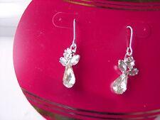 Holiday Xmas Silver Metal Brand New Angel Crystal Wire Dangle Pierced Earrings