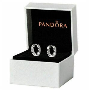 Boucles d'oreilles Créoles Avec Cœurs Femme PANDORA Ring Argent Sterling Cadeau