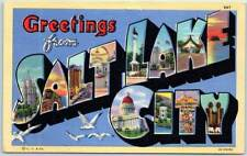 SALT LAKE CITY Utah Large Letter Postcard Colorful Curteich Linen c1940s Unused