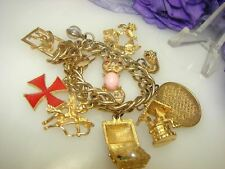 Vintage Gold Tone Chunky Charm Bracelet Maltese Cross Treasure Cat Well Prayer