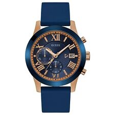 Guess Men's Rose Gold Tone Stainless Steel & Blue Rubber Strap Watch W1055G2