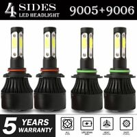 4-Side 9005 9006 Combo LED Headlight Kit High Low Beam Bulb 6000K 2400W 360000LM