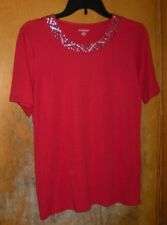 Allison Daley Red Short Sleeve Top with Silver Decor at Neck Size Small