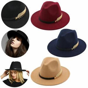 Herren Damen Winter Filzhut Breite Krempe Fedora Panama Hut Gangster Jazz Hüte