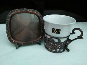 Designer KAREN PEACOCK Unique CUP & SAUCER Copper Turkish Style Collection 5Sets