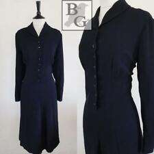 LANDGIRL WW2 1940S VINTAGE BLACK RAYON WARTIME ORIGINAL WREN DRESS 16 L