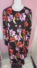 Floral Print Long Sleeve Tunic Midi Dress & Belt Set Ladies Size 18 M&S wedding