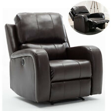 Electric Power Air Leather Recliner Chair Large Padded Armchair with USB Port