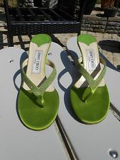 Jimmy Choo Lime Green Satin and Leather Sparkly Kitten Heels Toe Posts 4.5 37.5