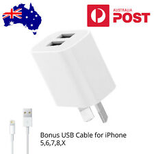 AU Plug Dual Port USB Wall Charger Power Adapter & iPhone 5,6,7,8,X, iPad Cable