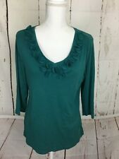 CATO WOMEN'S TOP SIZE L V NECK 3/4 SLEEVE CASUAL GREEN RUFFLES