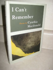 I Can't Remember Poems by Cynthia Macdonald Poetry 1st Edition First Printing