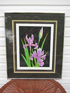 Serigraph Of Iris's Signed By Artist Leigh Numbered Framed & Matted Under Glass