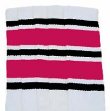 "22"" KNEE HIGH WHITE tube socks with BLACK/HOT PINK stripes style 6 (22-147)"