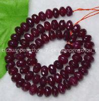 "Faceted 4x6mm Dark Red Garnet Gemstone Rondelle Loose Beads 15"" Strand"
