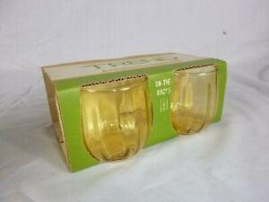 NOS Set of 4 Vtg 70s Anchor Hocking TRENDS Honey Amber Rocks Glasses 10 oz