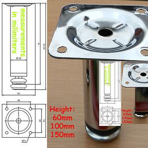 4x Plinth Legs Polished Chrome Steel/Metal adjustable Kitchen cupboard cabinet