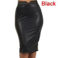 Women Sexy Soft PU Leather Skirt High Waist Slim Hip Pencil Skirts Mini Skirev S