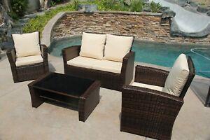 4 Piece Outdoor Patio Furniture Conversation Set -Luxurious Brown Wicker outdoor