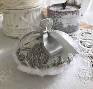 """Body Powder Talcum Applicator PUFF Large 5"""" Silver Gray  Floral - Made In USA"""