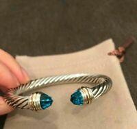 0.48 Ct Diamonds & Blue Topaz Cable Classics Bracelet 925 Sterling Silver 7.5 mm