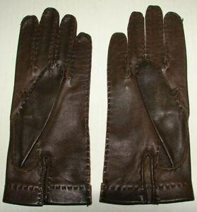 Paire de gants femme  marron en cuir 7.1/2