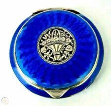 Antique Austria Sterling Silver Cobalt Blue Guilloche Enamel Basket Compact