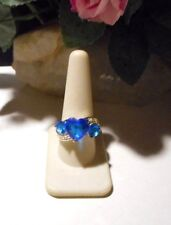 3 blue hearts.Size 10 Handmade Artisan silvertone ring with