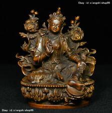 Old Tibet Buddhism Boxwood Wood Carved Green Tara Goddess GuanYin Buddha Statue