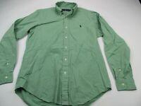 Ralph Lauren Mens Button Front Shirt Solid Green Long Sleeve Medium