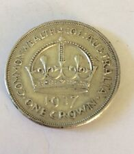 1937 One Crown Coin Australian Silver Pre Decimal King George VI Five Shillings