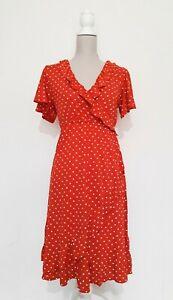 Red Polka Dot Spanish Style Wrap Dress Size M Medium H&M MAMA Ruffle Maternity