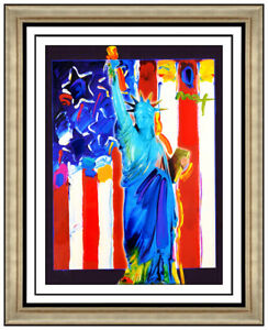 Peter Max Original Acrylic Painting United We Stand Statue Of Liberty Signed Art