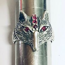 Fox Ring Vintage style Ruby and Sterling Silver Ring Equestrian Hunt Boxed 7