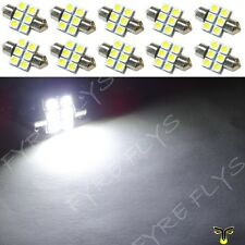 10 White 31mm 6SMD festoon dome map interior LED light DE3175 3022 3021 10xC1