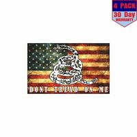 Dont Tread Snake On American Flag 4 Stickers 4x4 Inch Sticker Decal