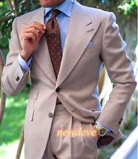 Light Brown Men Suit Tuxedo Slim Fit 2Pcs Wide Lapel Custom Wedding Groom Blazer