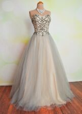 NWT SILVER NUDE TERANI BALL GOWN HOMECOMING PAGEANT PROM QUINCE GOWN DRESS 4