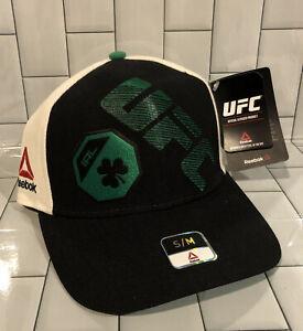 Reebok UFC McGregor Ireland Black/Green/St Patrick's Day Flexfit Hat - S/M - NWT