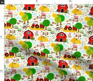 Farm Life Barn Animals Red Tractor White Country Spoonflower Fabric by the Yard